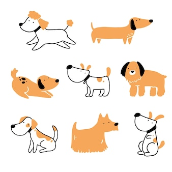 Набор милый щенок собака домашнее животное. коллекция счастливых и забавных собак. иллюстрация персонажа из мультфильма животных.