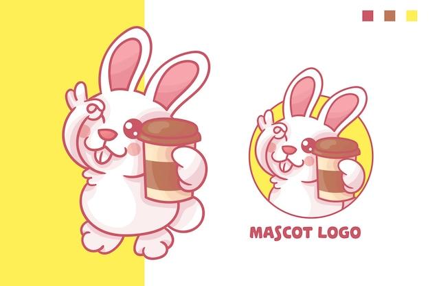 Набор милый кролик кофе талисман логотип с дополнительным внешним видом.