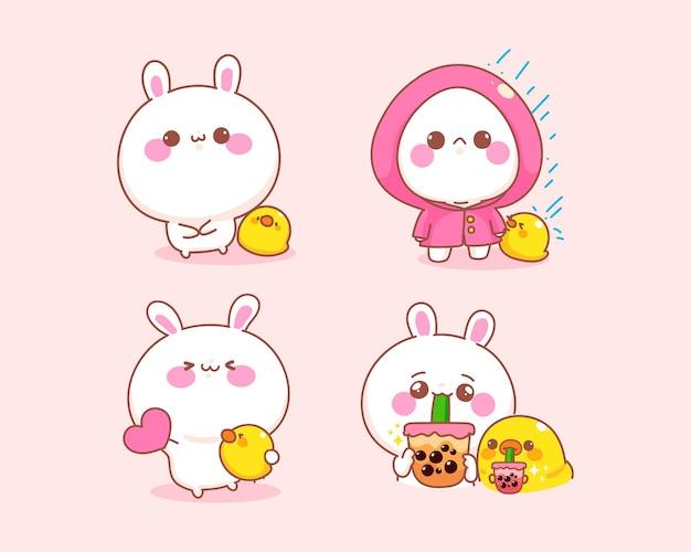 アヒルの異なる姿勢の漫画イラストとかわいいウサギのセット