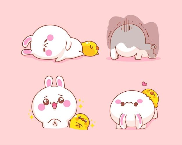오리와 귀여운 토끼 세트는 행복하고 슬픈 만화 일러스트를 느낀다