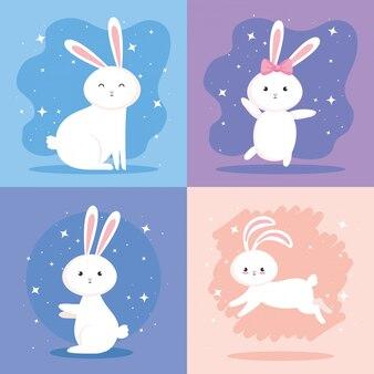 귀여운 토끼 아이콘 세트