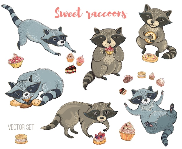 Набор милых енотов с тортами и печеньем