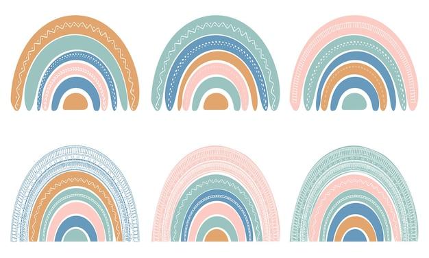 スカンジナビアスタイルのかわいい虹のセット。白い背景で隔離の水彩画の虹。パステルカラー。現代美術。