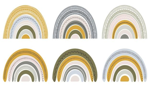 スカンジナビア風のかわいい虹のセット。白い背景で隔離の水彩画の虹。パステルカラー。現代美術。