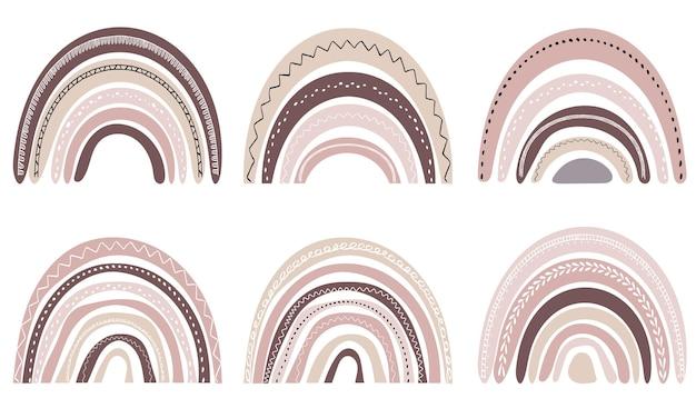 스칸디나비아 스타일의 귀여운 무지개 세트. 수채화 무지개 흰색 배경에 고립입니다. 파스텔 색상입니다. 현대 미술.