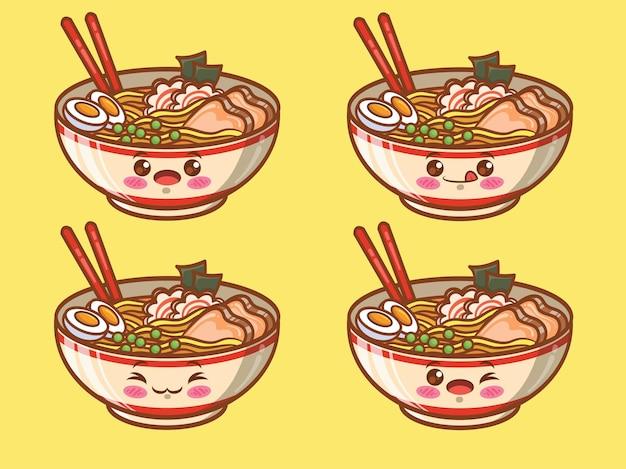귀여운라면 일본 음식 세트. 만화 캐릭터와 일러스트