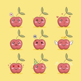 노란색 배경에 귀여운 빨간 체리 캐릭터 이모티콘 그림 디자인 세트