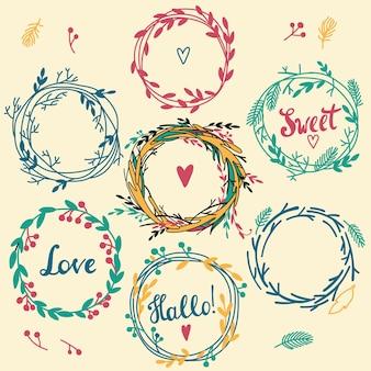 청첩장과 생일 카드에 완벽한 귀여운 복고풍 꽃 화환 세트. 꽃 프레임 컬렉션입니다.