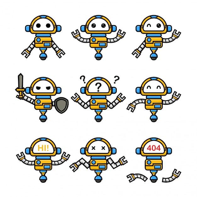 Набор милый робот с другой позой