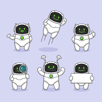 かわいいロボットの未来的なマスコットデザインのセット