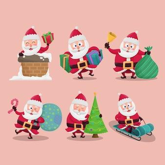 Набор милый санта-клаус на рождественской иллюстрации