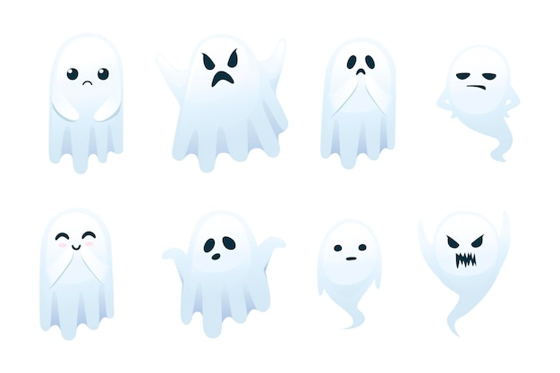 흰색 배경에 고립 된 얼굴 만화 캐릭터 디자인 평면 벡터 일러스트 레이 션에 다른 감정과 귀여운 무서운 작은 유령의 집합입니다.