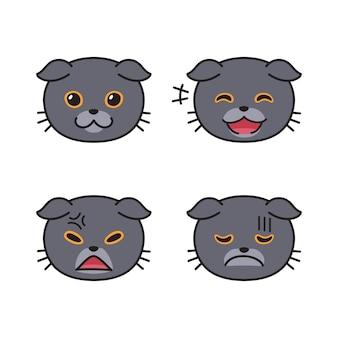 Набор симпатичных шотландских вислоухих кошачьих мордочек, показывающих разные эмоции для дизайна.