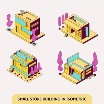 아이소메트릭에서 귀여운 상점 또는 상점 건물 세트
