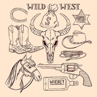 Набор милый эскиз ковбойских аксессуаров. рисованная иллюстрация