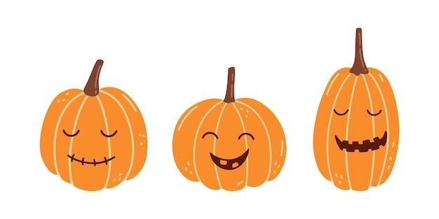 Набор милых улыбающихся тыкв для хэллоуина, изолированные на белом