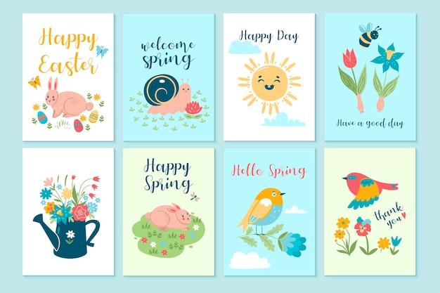 귀여운 봄 카드 세트.