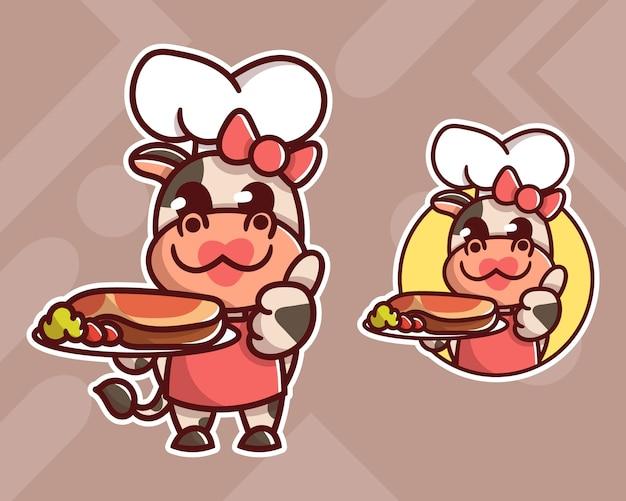 オプションの外観を持つかわいいステーキ牛マスコットロゴのセット。