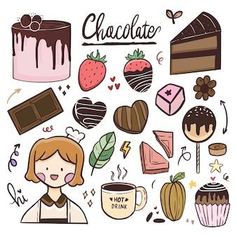 世界のチョコレートの日のイラスト線画の落書きを描くかわいいステッカーのセット