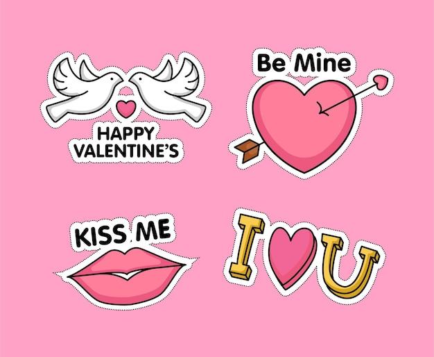 발렌타인 데이 귀여운 스티커 세트
