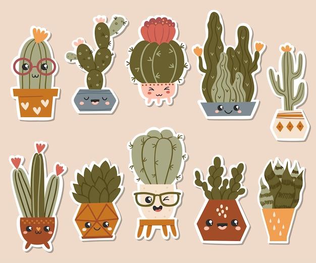 Набор милых наклеек кактусов и суккулентов.