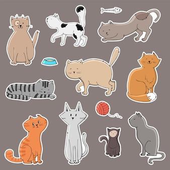 さまざまな猫とかわいいステッカーのセット。