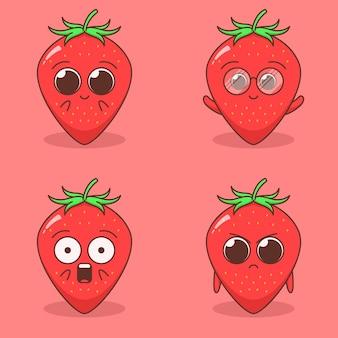 귀여운 딸기 표정 일러스트 세트