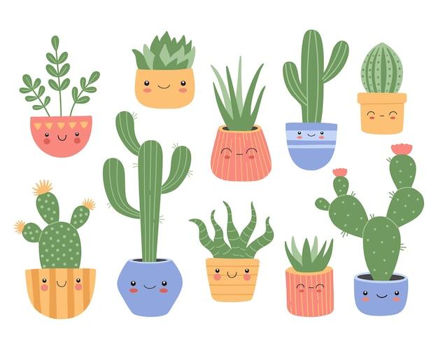 Набор милых кактусов суккулентов с улыбающимся лицом