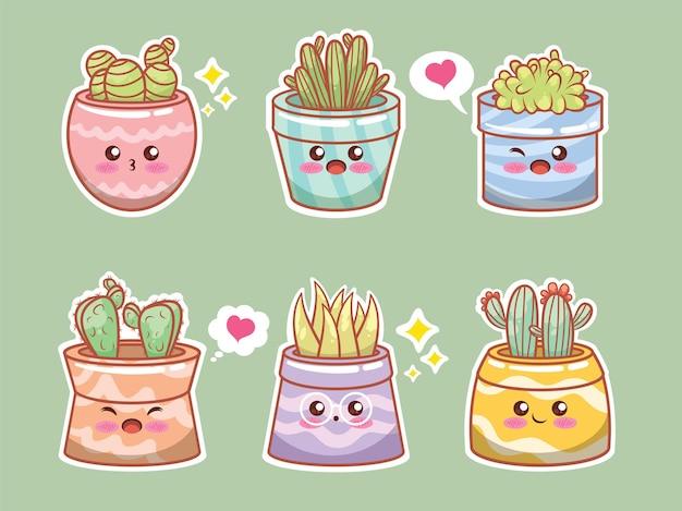 Набор милых растений суккулентов и мультфильма кактуса