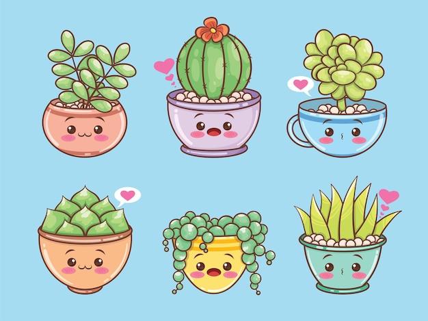 귀여운 다육 식물 사랑 개념의 집합입니다. 만화 캐릭터와 일러스트