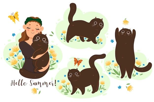 Набор милых летних кошек.