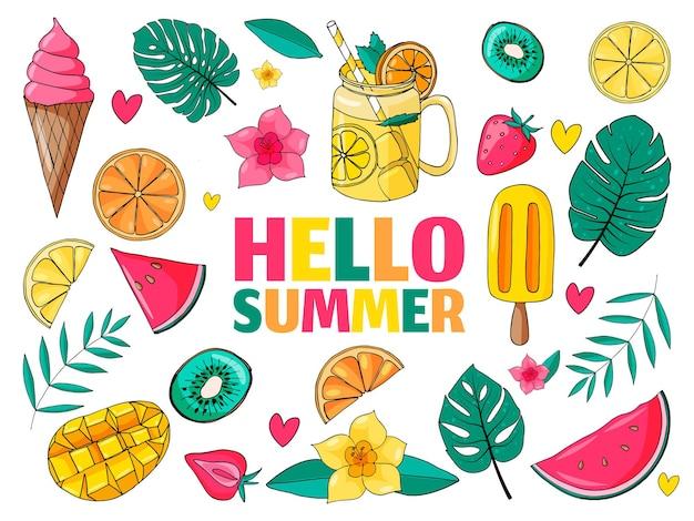 Набор милых летних иконок. еда, напитки, пальмовые листья, фрукты и мороженое. яркое лето.