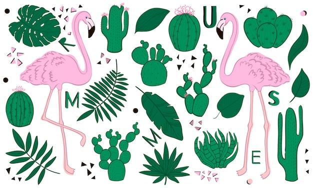 Набор милых летних иконок: зеленые тропические листья, кактус и фламинго. мультяшный стиль.