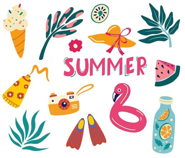 かわいい夏のアイコンのセット:熱帯の葉、飲み物、アイスクリーム、フラミンゴ、ひれ、カメラ、日焼け止め。夏休み。ビーチパーティーのためのスクラップブッキング要素のコレクション。ベクトル漫画イラスト