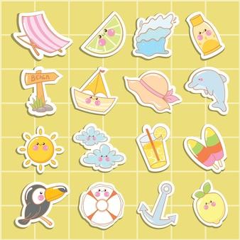 귀여운 여름 스티커 또는 라벨 컬렉션 세트