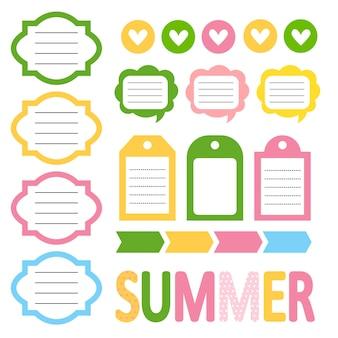 귀여운 여름 스타일 일일 플래너, 메모 카드, 스티커 세트. 학교, 아기 스크랩북, 할 일 목록, 일기 카드, 플래너 인쇄 가능한 템플릿. 벡터 일러스트 레이 션. 플랫 스타일. 어린이에게 좋습니다.