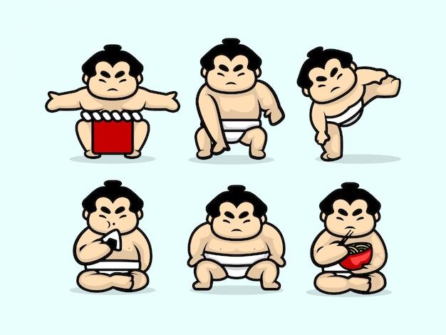 かわいい相撲キャラクターデザインイラストテンプレートのセット