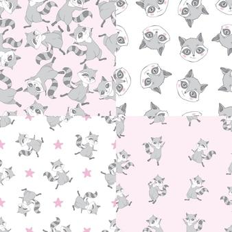 귀여운 슈퍼 너구리 완벽 한 패턴 및 포스터의 집합입니다. 작은 너구리 머리와 유치 한 배경입니다.