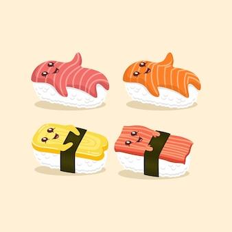 Набор милый суши персонаж мультфильма иллюстрации плоский дизайн