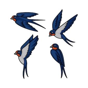 飛んでポーズデザインイラストとかわいいツバメ鳥のセット
