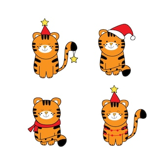 크리스마스 의상을 입은 귀여운 호랑이 세트 - 화이트 벡터 컬렉션