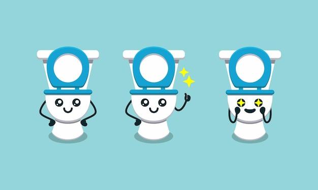 Набор милый туалетный талисман дизайн логотипа иллюстрации