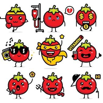 かわいいトマトベクターデザインのセット