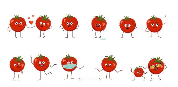 흰색 배경에 격리된 다른 감정을 가진 귀여운 토마토 캐릭터 세트. 웃기거나 슬픈 영웅, 붉은 채소는 놀고, 사랑에 빠지고, 거리를 유지합니다. 벡터 평면 그림
