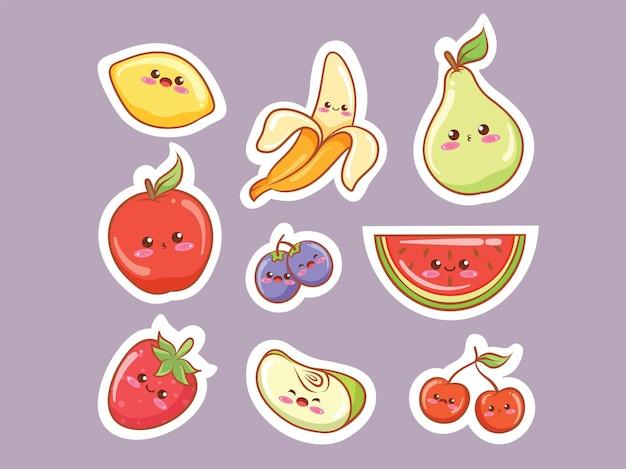 Набор милых тропических фруктов в стиле стикеров каваи