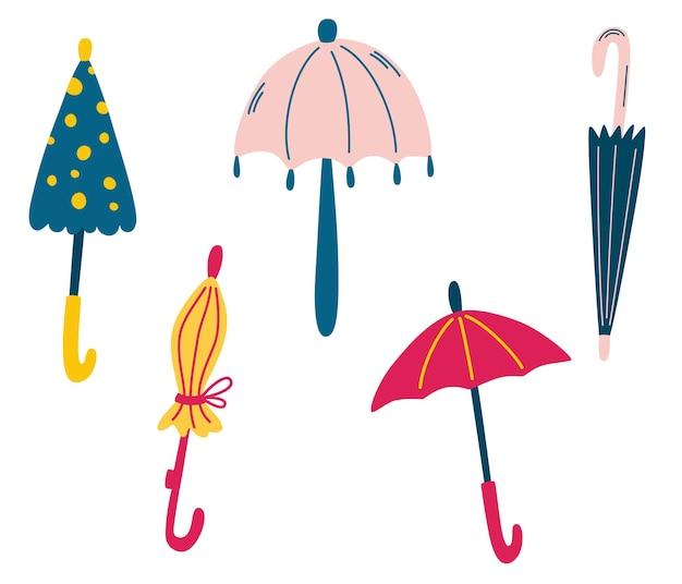 Набор милых зонтиков. дождливая погода. стильная осень. разные забавные закрытые и открытые зонтики.
