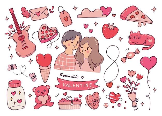 かわいいバレンタインの落書きのセット