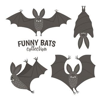 귀여운 벡터 박쥐의 집합입니다. 할로윈 캐릭터 아이콘 모음입니다. 재미있는 가을 모든 성도들은 날고 잠자는 검은 동물들과 함께 삽화를 그립니다. 아이들을 위한 samhain 파티 사인 디자인.