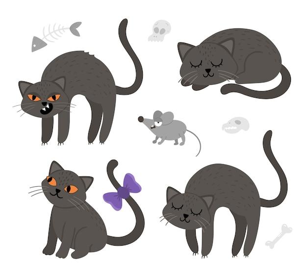 Набор милых векторных черных кошек и мыши. коллекция значков персонажей хэллоуина. забавная осень канун всех святых иллюстрация со страшными животными, черепами, костями. дизайн знака партии samhain для детей.