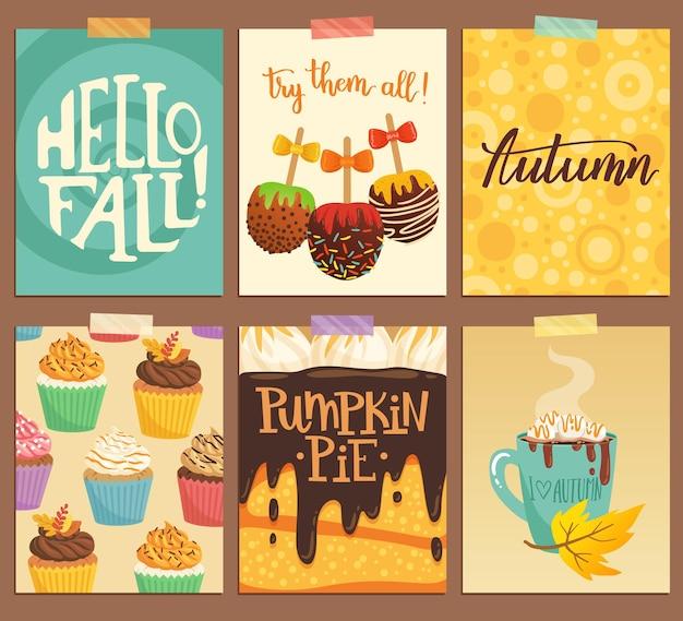 가을에 대한 귀여운 벡터 카드 세트입니다. 호박 파이, 카라멜 사과, 마시멜로가 있는 핫 초콜릿, 컵케이크, 손으로 쓴 글씨로 된 삽화.